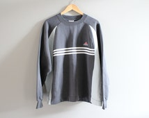 Adidas Sweatshirt Grey 3 StripesFleece Lining Cotton Adidas Pullover Baggy Slouchy Sweater Vintage 90s Size L #T101A