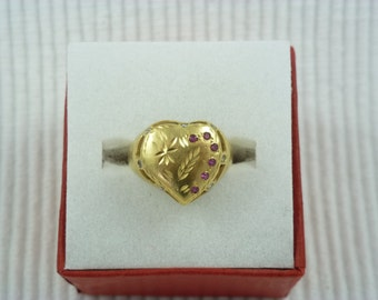 French antique 22ct heart shaped ring with small diamonds and rubies