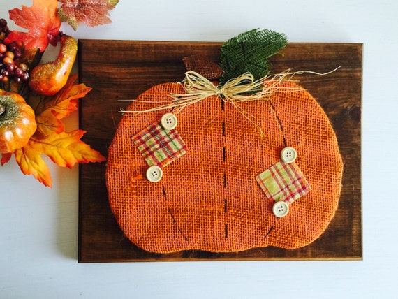 Rustic Burlap Wood Pumpkin Sign