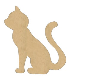 Cat Cutout Shape Laser Cut Unfinished Wood Shapes, Craft Shapes, Gift Tags, Ornaments #809 All Sizes