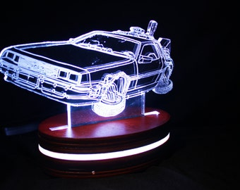 Back to the Future Delorean Lamp inspired Acrylic Light, Colour Changing LED Desk Lamp, Illuminated LED Light, Multiple Options