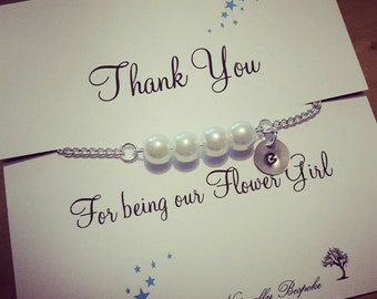 Flower girl bracelet, thank you for being my flower girl, wedding favour, thank you for being my bridesmaid, bridesmaid thank you, thank you