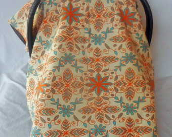 Abstract print in Mandarin orange, gray & blue baby car seat cover/canopy
