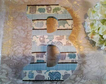 Letter B Monogram Initial Decoupage White Mint Taupe Wall Hanging Girl Boy Baby Home Wall Baby Gift Decor Wood