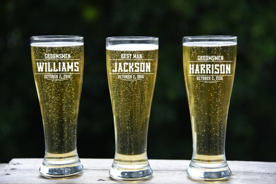 Engraved Wedding Beer Glasses : Pilsner Glass, Groomsmen Gift, 11 Personalized Beer Glasses, Wedding ...