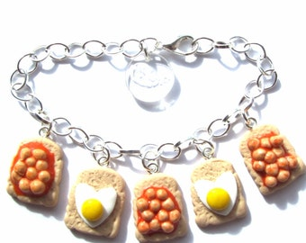 Quirky Fried Egg and Beans on Toast Clay Charm Bracelet