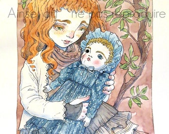 illustration original mori girl and antique doll
