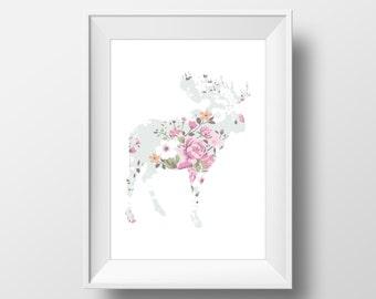 Floral Moose Print, Moose Print, Moose Wall Art, Floral Moose, Printable Moose Art, Moose Decor, Animal Nursery Decor