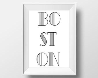 Boston Typography Black & White Print, Boston Printable Art, Boston Print, Boston Art, Boston City,