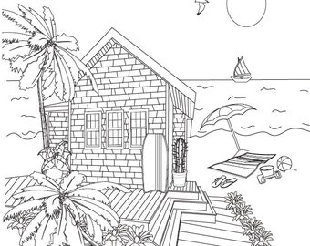 Adult Coloring Books Beach Cottages 20 Designs Digital Download Calming Soothing Fun Colouring Pages