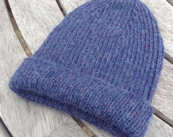 NEW COLOUR - Gents reversible ribbed blue pure alpaca watch cap / hat by Willow Luxury