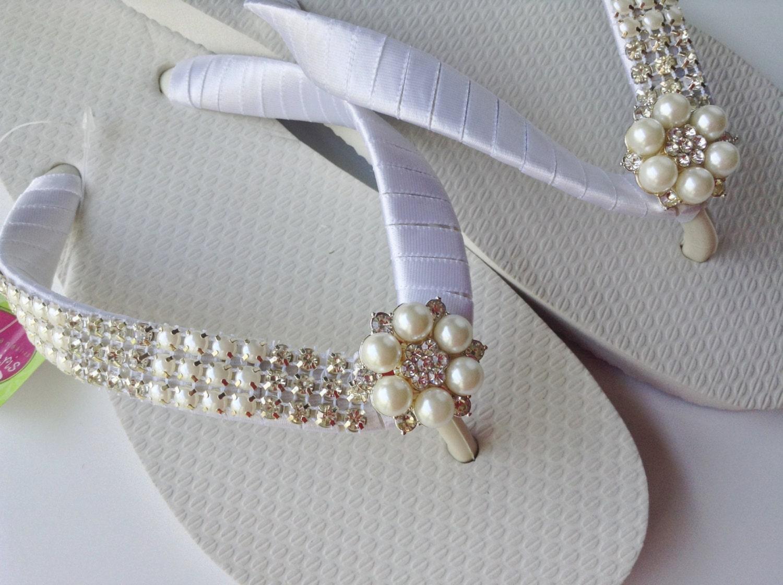 braut wei flip flop braut perlen sandalen hochzeit. Black Bedroom Furniture Sets. Home Design Ideas