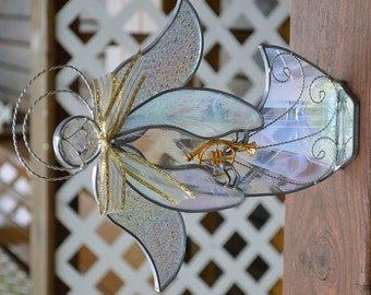 Vintage Stain Glass Angel - Cream Lavender