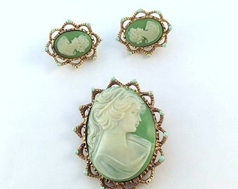 Vintage Green Lady Cameo Brooch and Clip Earrings in Goldtone/Brass Setting