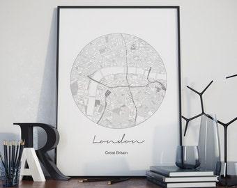 London print, London art, London street map, London map, Great Britain, United Kingdom, Modern Minimalist, Black and white art, office art