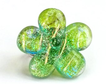 Dichroic Fused Glass Adjustable Flower Ring  - Flora collection - Green, yellow, teal (FR70)