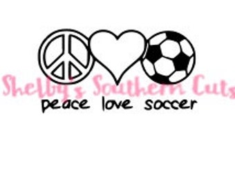 Peace, Love & Soccer SVG file