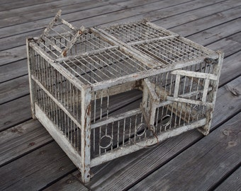Wood and wire birdcage, finch cage, wooden, vintage, white, gray, shabby chic