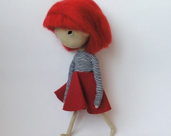 OOAK Asian art doll, black-eyed doll, Asian cloth doll, doll with red hair, nursery decor, gift for girl