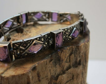 art deco amethyst and sterling bracelet