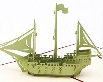 3D Sailboat Ship 3D Pop Out Card