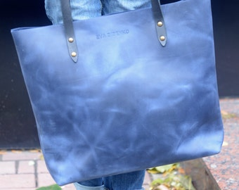 bags purses totes navy blue leather tote deep blue leather tote worn blue bag vintage leather bag shabby leather tote blue leather handbag