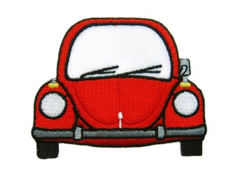 Red Car Embroidered Applique Iron on Patch