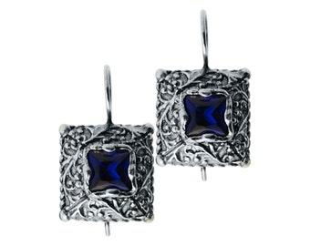 Silver Earrings, Blue Zircon Earrings, Sterling Silver 925, December Birthstone, Winter Earrings, Handmade Jewelry, Silver Jewelry