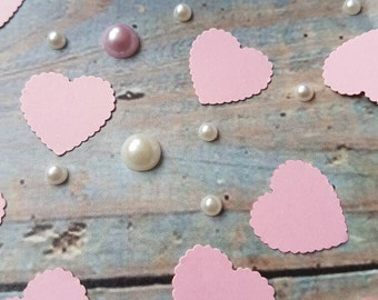 Soft Pink Scalloped hearts table confetti  decoration .Romantic Wedding , anniversary, traditional, natural eco