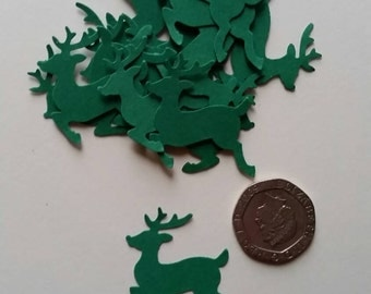 40 Green Christmas Reindeer shaped hand punched confetti .table decoration, crafts, scrapbooking,cardmaking