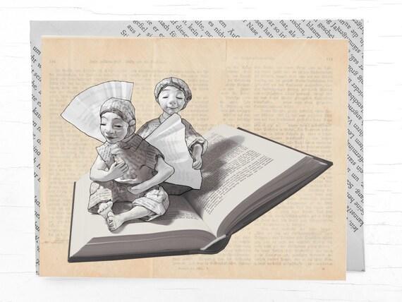 Congratulation card angels, card bookworms, envelope book pages, book voucher, bookmark, postcard book, birthday card book, angel, book art
