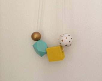 Wooden bead necklace // square geometric and round beads// yellow aqua white and gold