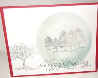 Happy Holiday Evergreens Christmas Card