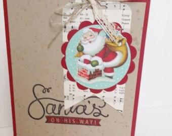 Santa's on his Way card