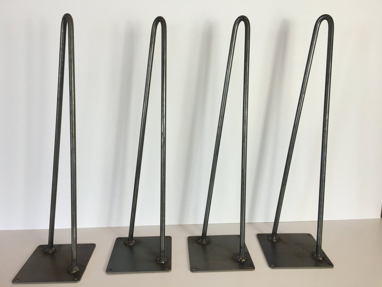 set of 4 modern industrial 2 rod hairpin leg base raw steel. Black Bedroom Furniture Sets. Home Design Ideas