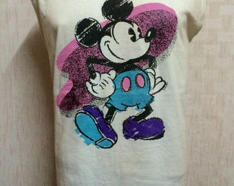 Vintage 80s MICKEY MOUSE Sleeves Less Tshirt Blend 50/50 Polyester Cotton