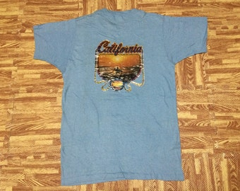 Vintage 70s 1979 NOS Brawny iron on CALIFORNIA Beach SUNSET one side pocket t shirt made in usa