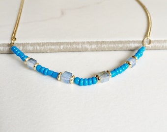 Turquoise & Crystal Bar Necklace, Gemstone Necklace