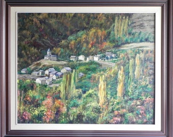 Oil on canvas painting - farmhouse in the Pyrenees