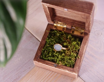 wooden ring box wedding engagement ring box with natural moss rustic boho wedding ring - Wedding Ring Box