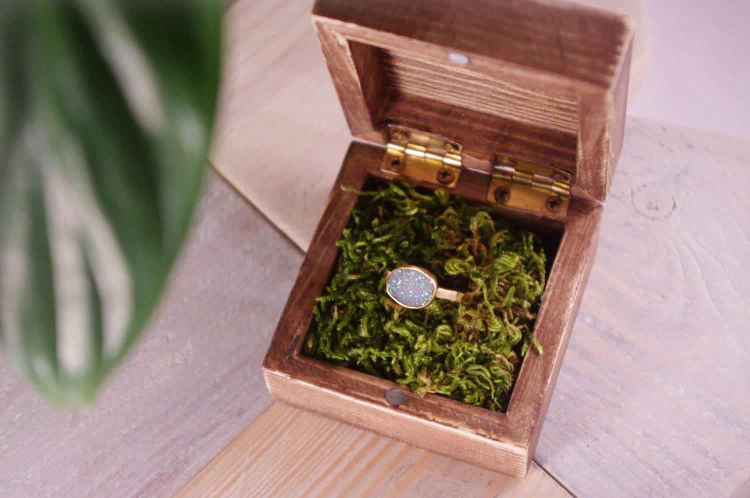 wooden engagement ring box with natural moss boho rustic