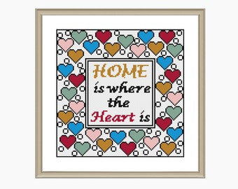 Cross Stitch Pattern, Modern cross stitch - HOME is where the Heart is - cross stitch chart - Downloadable PDF