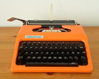 SOLD***Vintage Orange Typewriter - A Portable East German / GDR Cella Robotron - 1970s ***SOLD***