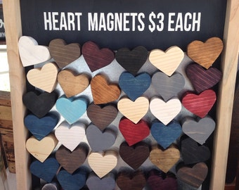 Repurposed scrap wood heart magnets