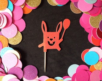 12pcs Glitter Happy Bunny with Balloon ( More Color )