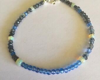 Dainty Ethiopian Opan, Sky Blue Chalcedony, and Labradorite Gemstone Bracelet