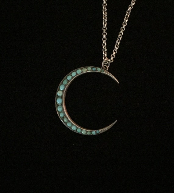 antique turquoise crescent moon necklace