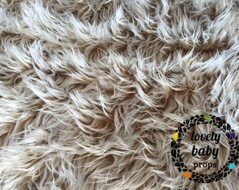Faux fur Frosted brown newborn photo prop basket stuffer nest filler