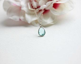 Silver  Blue Topaz necklace - Blue Topaz  necklace - Bezel charm necklace - December Birthstone necklace - Gift for her