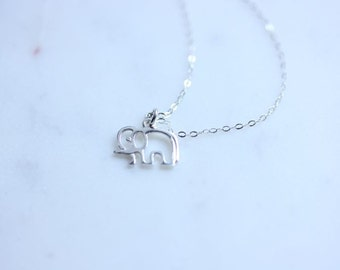 Silver Elephant Necklace - Sterling Silver Elephant necklace - Delicate necklace - Baby Elephant Jewelry